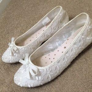 White Designed Girls Dress Shoes
